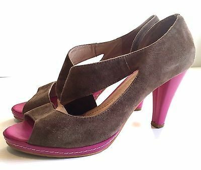 CUCO shoes. Brown suede & Pink leather heels. Leather-lined. Size 40