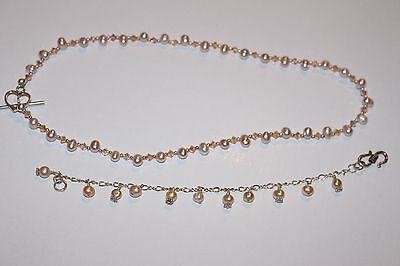 Hand made necklace and bracelet - sterling silver, freshwater pearls & crystals
