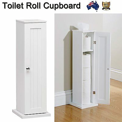 Toilet Roll Holder Cupboard White Free Standing Bathroom Storage Wooden Modern