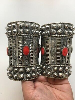 1pc Vintage Afghan Turkmen Tribal Oval Red Coral Inlay Spike cuff bracelet