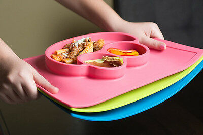 Silicone Placemat Plate BPA Free Baby Feed Kids food non slip suctions dividers