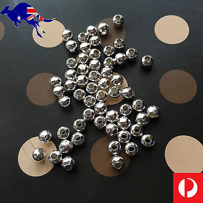 50 Tibetan Spacers Silver/Plated/Steel Tone Round Ball Bead Charm loose rondelle