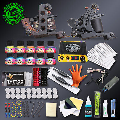 Professional Complete Tattoo Machine Kit Gun Ink Power Supply 2 Set Color 40 4