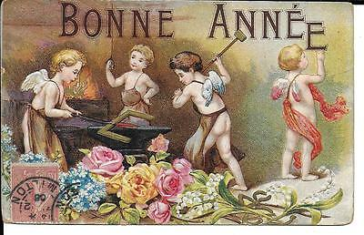 Cpa Fantaisie Gaufree 4 Petits Anges A La Forge 1906