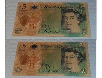 Gold Banknote  -  1x New Winston Churchill Colourised £5 Banknote