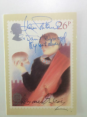 Lot 0213 V Rare Postcard Signed by Legends Joan Fontaine and Laurence Olivier