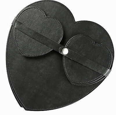 4 Heart Shaped Coasters and Table Placemats Dinner Tableware Set Black Stylish