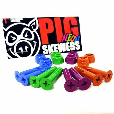 """Pig Neon Skewers 1"""" Skateboard Bolts + Free Sticker & Shipping"""