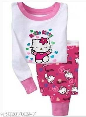 Baby girl clothes 100% cartoon Kids Pajama Sets Clothes girl sleepwear age 2T-7T