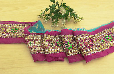 Vintage Indian Sari Border Hand Beaded Magenta Trim Sewing Used 1YD Ribbon Lace