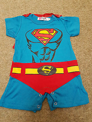 Superman/hero outfit baby grow vest for fun/Fancy dress parties 6-12 months