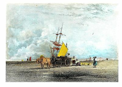 """Sea Coast"" (Working Party on the Beach) Eng. by R. Brandad after David Cox 1836"