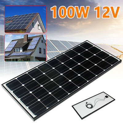 100W solar panel with 5m cable for 12V Battery Motorhome Camper Caravan Boat