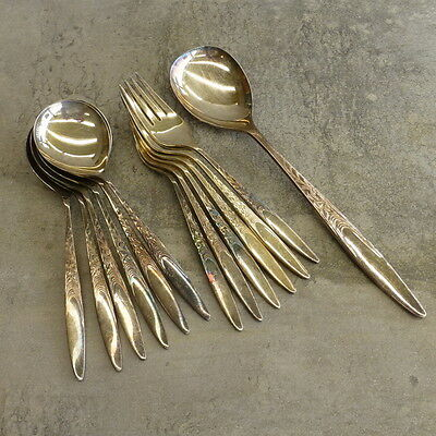 Vintage Wiltshire Asfodel Silver Plate Fruit Spoons Forks Set with serving spoon