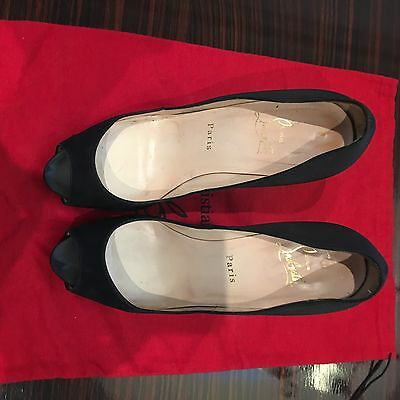Christian Louboutin VERY PRIVE 120mm BLACK SATIN 38.5