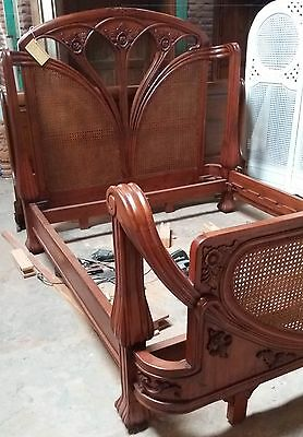 Mahogany 5' King Size Carved Art Nouveau Style Bed with Rattan New