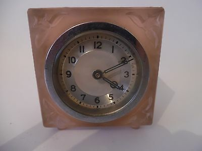 Beautiful Art Deco Pink Frosted Glass Clock