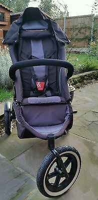 Phil and Teds Sport pushchair. Black and grey. With rain cover.