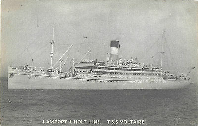 RP Card LAMPORT & HOLT LINE T.S.S. VOLTAIRE – Liverpool Printing - Unposted