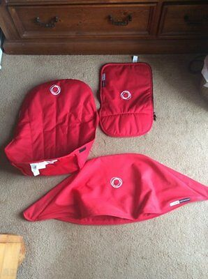 Bugaboo Hood / Apron Fabric Set & Seat Cover - RED