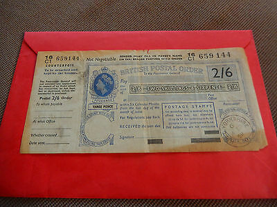 British Postal Order 1956 2/6 With Counterfoil Hull Yorkshire