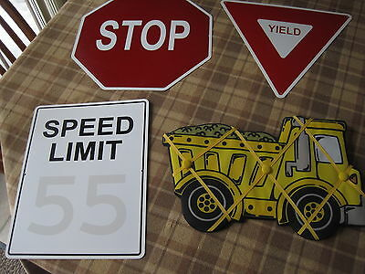 Metal Traffic Themed Signs Childs Room Man Cave Dorm Playroom Signs & Memo Board