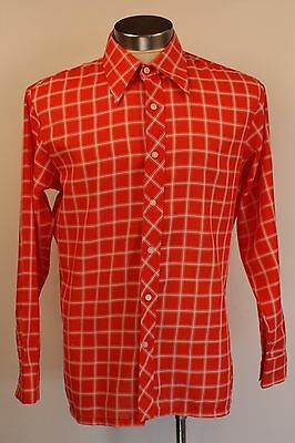 LARGE, 1970's SWISS COTTON, MENS SHIRT. ORIGINAL VINTAGE. TRAMPS BY SHERATON.