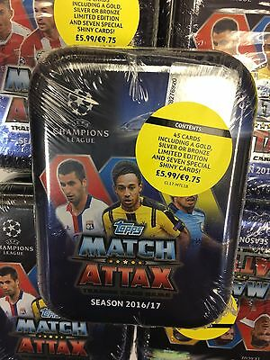 MATCH ATTAX Champions League 2017 Collector Tin SINGLE PACK 45 CARDS +1 LIMITED