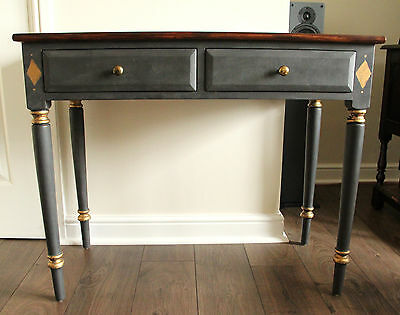 Beautiful Hall Table/Desk painted in graphite with polished pine top