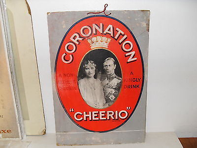 1937 King George VI Advertising Coronation - Cheerio Champagne - Card Sign