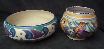 2 Poole Carter Stabler Adams Hand Painted Pottery Vase Bowl 1930's Display
