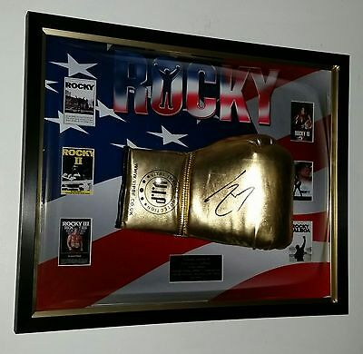 *** NEW ROCKY Sylvester Stallone SIGNED BOXING GLOVE Autograph Display **