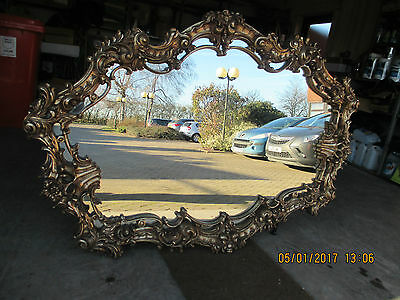 Stunning Gilt Framed French Style Over Mantle Mirror, 5ft Wide, Beautiful Piece.