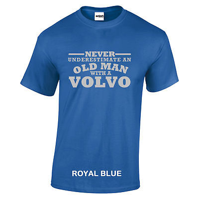 Volvo Never Underestimate An Old Man With Volvo t shirt Silver Logo size to 5XL