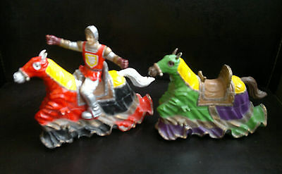 Vintage ELC PAPO 2 Pull & Go Horses & 1 Knight Toys
