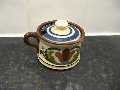 Vintage Torquay Motto Ware Pottery  -   Mustard Pot  -Scandy Pattern
