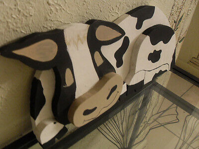 Cow Dimensional Black & White Wall Hanging or Shelve Sitter
