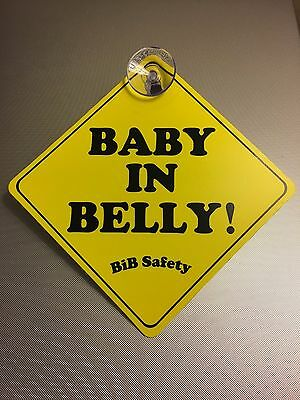 Baby in Belly sign  Baby on Board sign  Suction cup decal car sign