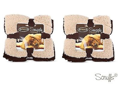 Scruffs Pet Snuggle Comfort Blanket Dog Cat Duvet Reversable Brown Twin Pack