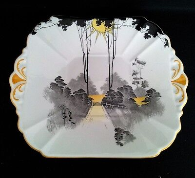 """Shelley """"queen Anne"""" Tall Trees&sunset Cake Plate #11678 C1925-40"""
