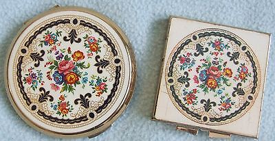 Vintage STRATTON Ornate Colourful FLORAL Design Make Up COMPACT & MIRROR Set