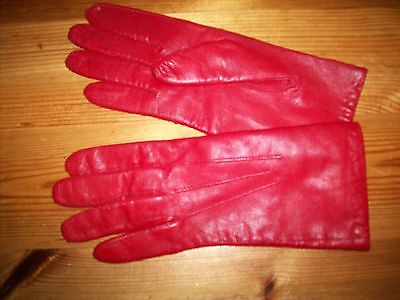 Dents Vintage Red Leather Gloves Size 6 - 6 1/2  Fine Knit Lining