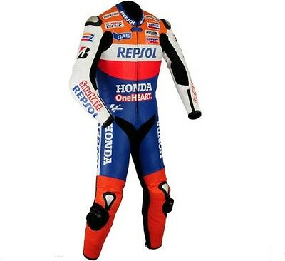 HONDA-REPSOL-SatuHATI-1 OR 2-PC MOTORBIKE LEATHER SUIT, RACING MOTORCYCLE (Rep)