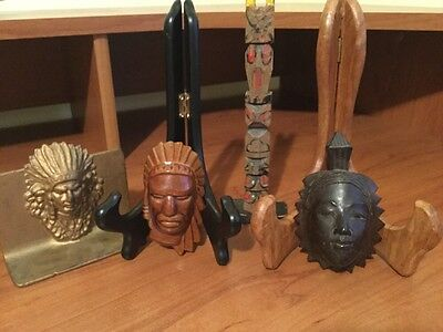 Vintage Native American Indian Heads And Small Totem Pole