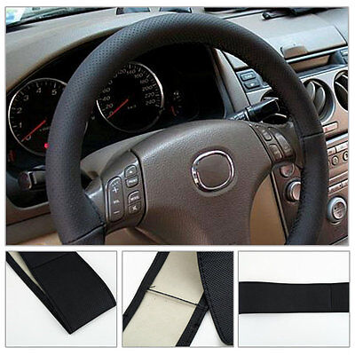 !W~DIY PU Leather Car Auto Steering Wheel Cover With Needles and Thread Black#!