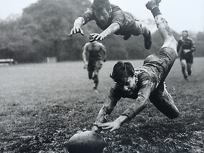 "'It's A Try!'  - 1960 RUGBY GAME Original 12x16"" darkroom print"