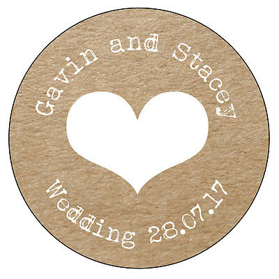 HEART Personalised Wedding Shabby Brown Kraft Effect Favour Stickers Bride 020