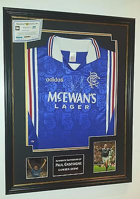 ** Vintage Paul Gascoigne of Glasgow Rangers Signed Shirt Autograph Display **