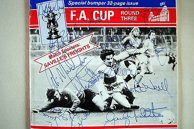 Leicester City 13 x team autographs 1986. On F.A. Cup programme v Bristol Rovers