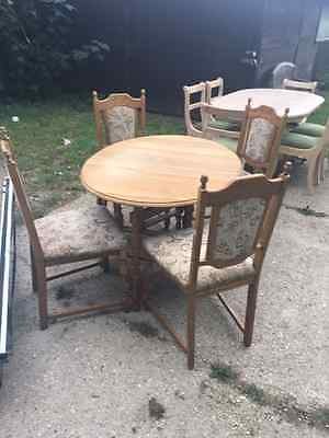 Vintage Solid Oak Dopleaf Table and 4 Solid Oak Chairs